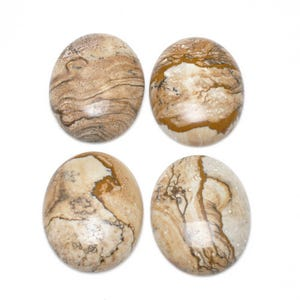 Beige Smooth Picture Jasper 22mm x 30mm Calibrated Oval Cabochon Pack Of 1 CA16632-7