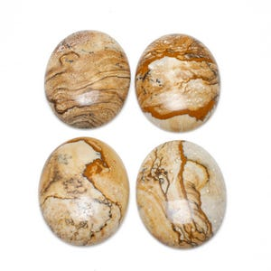 Beige Smooth Picture Jasper 30mm x 40mm Calibrated Oval Cabochon Pack Of 1 CA16632-8