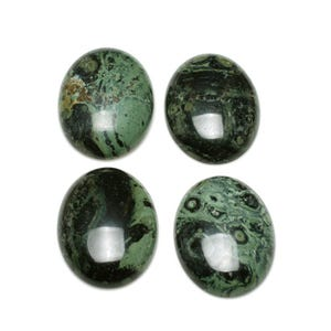 Green Smooth Kambaba Jasper 13mm x 18mm Calibrated Oval Cabochons Pack Of 2 CA16633-4