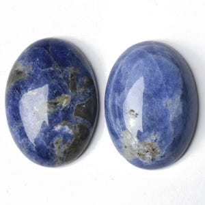 Blue Smooth Sodalite 13mm x 18mm Calibrated Oval Cabochons Pack Of 2 CA16649-4