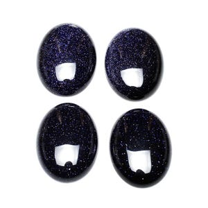 Blue Smooth Goldstone 6mm x 8mm Calibrated Oval Cabochons Pack Of 6 CA16668-1