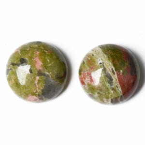 Green/Orange Smooth Unakite 8mm Calibrated Coin Cabochons Pack Of 6 CA16671-1
