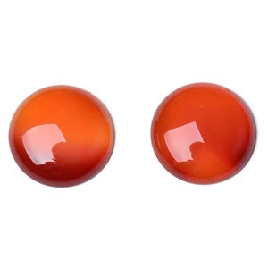 Red/Brown Smooth Carnelian 10mm Calibrated Coin Cabochons Pack Of 4 CA16678-2