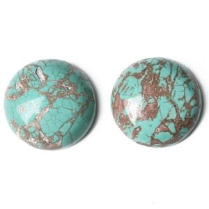 Turquoise Smooth Magnesite 14mm Calibrated Coin Cabochons Pack Of 3 CA16679-4