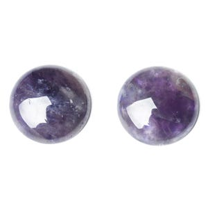 Purple Smooth Amethyst 14mm Calibrated Coin Cabochons Pack Of 3 CA16682-4