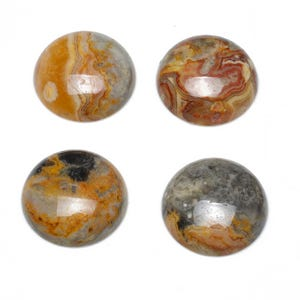 Beige Smooth Crazy Lace Agate 25mm Calibrated Coin Cabochon Pack Of 1 CA16685-8