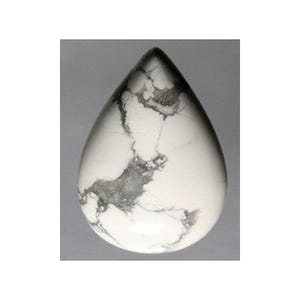 White/Grey Smooth Howlite 22mm x 30mm Calibrated Drop Cabochon Pack Of 1 CA16805-7