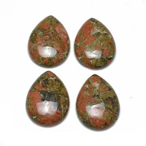 Green/Orange Smooth Unakite 18mm x 25mm Calibrated Drop Cabochon Pack Of 1 CA16819-6