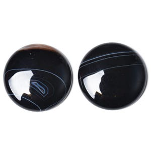 Black Smooth Banded Agate 25mm Calibrated Coin Cabochon Pack Of 1 CA17401-6