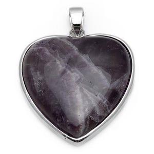 Purple Amethyst Heart Pendant 33mm x 35mm  CB24197