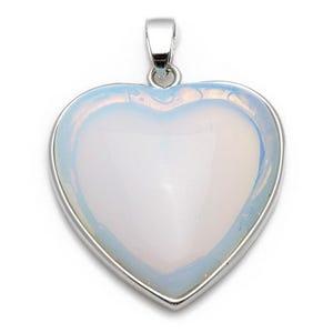 Clear Opalite Heart Pendant 33mm x 35mm  CB24200