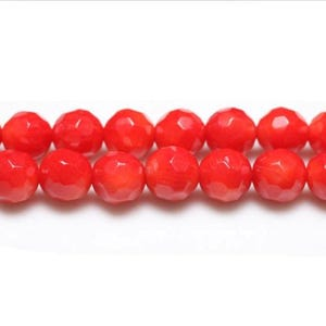 Red Dyed Coral Faceted Round Beads 6mm Strand Of 60+ Pieces CB26210-3