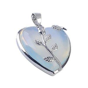 Clear Opalite Leafy Heart Pendant 35mm  CB29900