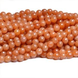 Orange Aventurine Grade A Faceted Round Beads 4mm Strand Of 90+ Pieces CB31087-1