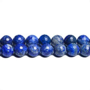 Blue Dyed Denim Lapis Lazuli Grade A Faceted Round Beads 10mm Strand Of 38+ Pieces CB31095-4