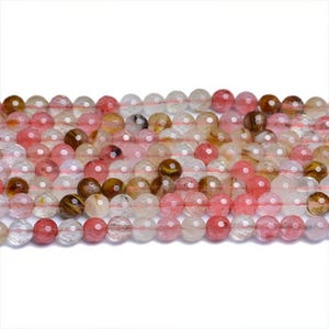 Mixed-Colour Cherry Quartz Faceted Round Beads 8mm Strand Of 40+ Pieces CB31100-3