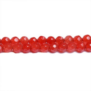 Red Malaysian Jade Grade A Faceted Round Beads 4mm Strand Of 95+ Pieces CB31171