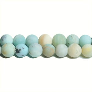 Multicolour Frosted Amazonite Grade A Plain Round Beads 8mm Strand Of 45+ Pieces CB31194-3