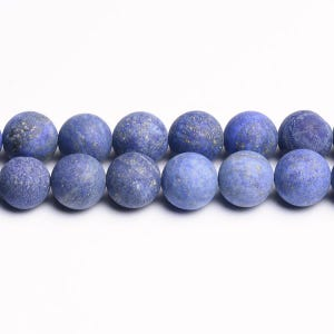Blue Frosted Lapis Lazuli Grade A Plain Round Beads 8mm Strand Of 45+ Pieces CB31196-3