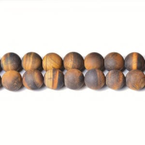 Yellow/Brown Frosted Tiger Eye Grade A Plain Round Beads 8mm Strand Of 45+ Pieces CB31600-3