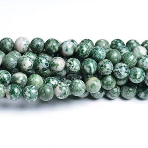 Green/White Tree Agate Grade A Plain Round Beads 4mm Strand Of 90+ Pieces CB32060-1