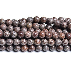 Brown/Grey Snowflake Obsidian Grade A Plain Round Beads 6mm Strand Of 60+ Pieces CB32068-2