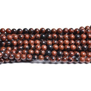 Brown/Black Mahogany Obsidian Grade A Plain Round Beads 8mm Strand Of 40+ Pieces CB32083-3