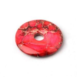 Fuchsia/Red Impression Jasper Donut Pendant 40mm  CB37268