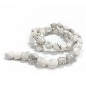 White/Grey Howlite Grade A Smooth Nugget Beads Approx 7x9mm-8x10mm Strand Of 40+ Pieces CB37281-3