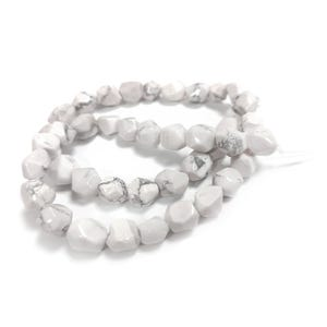 White/Grey Howlite Grade A Cut Nugget Beads Approx 6-10mm Strand Of 35+ Pieces CB37489