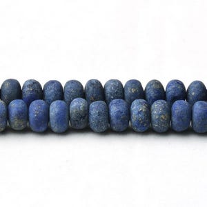 Blue Frosted Lapis Lazuli Grade A Plain Rondelle Beads 5mm x 8mm Strand Of 65+ Pieces CB37507-2