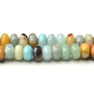 Multicolour Amazonite Grade A Faceted Rondelle Beads 4mm x 6mm Strand Of 90+ Pieces CB37513-1