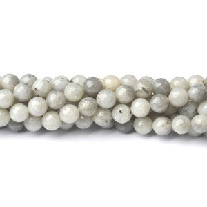 Pale Grey Labradorite Grade A Faceted Round Beads 6mm Strand Of 60+ Pieces CB39955-2