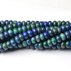 Blue/Green Dyed Chrysocolla Grade A Plain Rondelle Beads 5mm x 8mm Strand Of 70+ Pieces CB39960-2