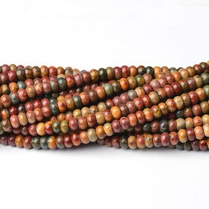 Multicolour Picasso Jasper Grade A Plain Rondelle Beads 5mm x 8mm Strand Of 70+ Pieces CB39961-2