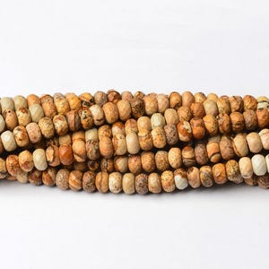 Beige Picture Jasper Grade A Faceted Rondelle Beads 5mm x 8mm Strand Of 70+ Pieces CB39970-2