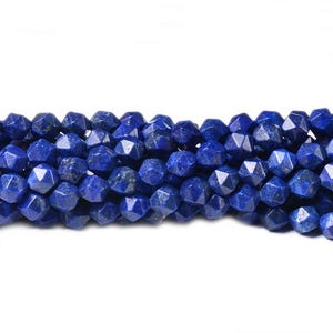 Blue Dyed Lapis Lazuli Grade A Faceted Nugget Beads 6mm Strand Of 70+ Pieces CB41287-1