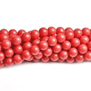 Red Dyed Mashan Jade Grade A Plain Round Beads 4mm Strand Of 95+ Pieces CB41701-3