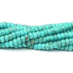 Turquoise Magnesite Grade A Faceted Rondelle Beads 5mm x 8mm Strand Of 70+ Pieces CB41809-3