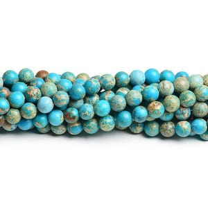 Turquoise Dyed Impression Jasper Grade A Plain Round Beads 8mm Strand Of 40+ Pieces CB41817-3