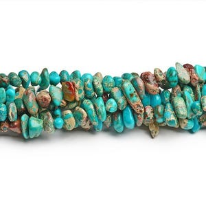 Turquoise Dyed Impression Jasper Grade A Smooth Nugget Beads Approx 8x6mm-15x5mm Strand Of 60+ Pieces CB41841-1
