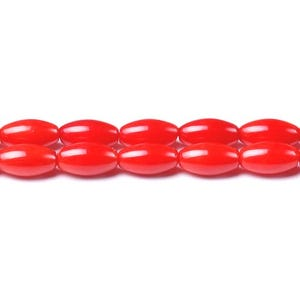 Red Dyed Coral Plain Rice Beads 5mm x 9mm Strand Of 40+ Pieces CB41921-4