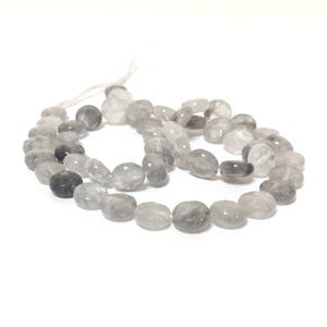 Silver Quartz Grade A Faceted Coin Beads 8mm Strand Of 45+ Pieces CB42522-1