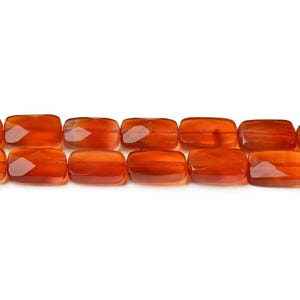 Red Carnelian Grade A Faceted Rectangle Beads 8mm x 12mm Strand Of 20+ Pieces CB42554