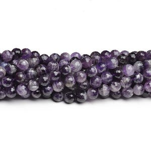Purple Chevron Amethyst Grade A Faceted Round Beads 6mm Strand Of 60+ Pieces CB43826-1