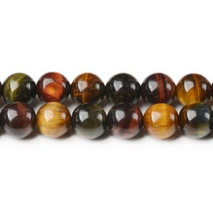 Mixed-Colour Tiger Eye Grade A Plain Round Beads 10mm Strand Of 32+ Pieces CB44126-3