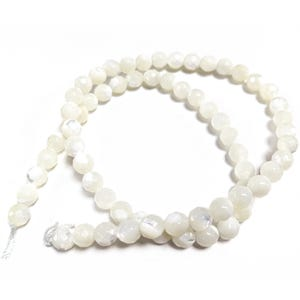 Pale Cream Mother Of Pearl Faceted Round Beads 6mm Strand Of 60+ Pieces CB45216-2