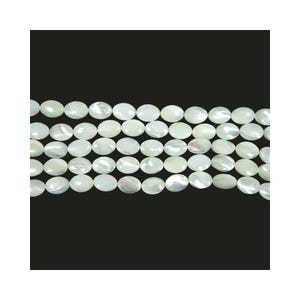 Pale Cream Mother Of Pearl Flat Oval Beads 10mm x 14mm Strand Of 25+ Pieces CB45223-4