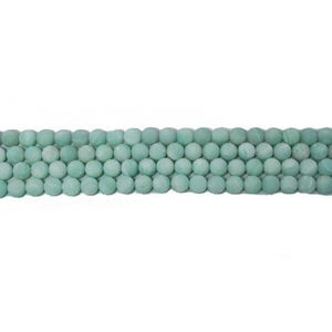 Turquoise Frosted Amazonite Grade A Plain Round Beads 6mm Strand Of 60+ Pieces CB46087-1