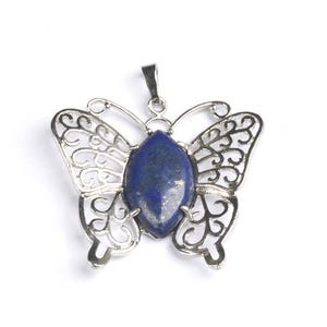 Blue Lapis Lazuli Butterfly Pendant 40mm x 45mm  CB47013